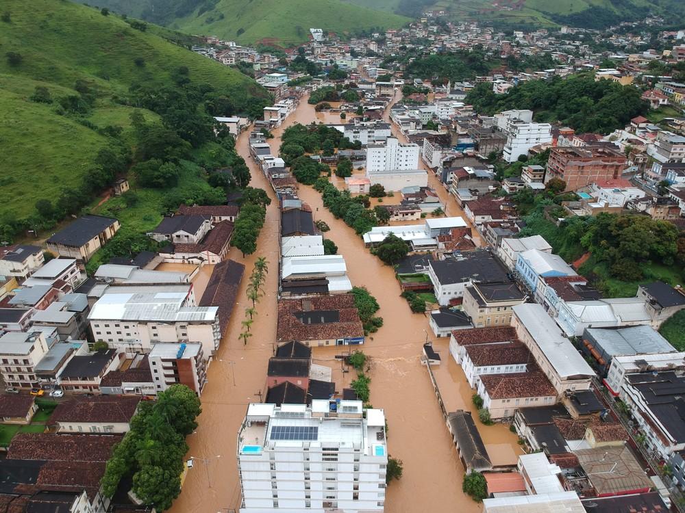 Carangola registrou vários alagamentos — Foto: Vinicius da Silva Barbosa/Arquivo Pessoal