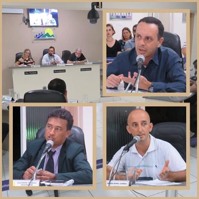 Vereadores Mário Junior, Xandinho e Sérgio Borel .