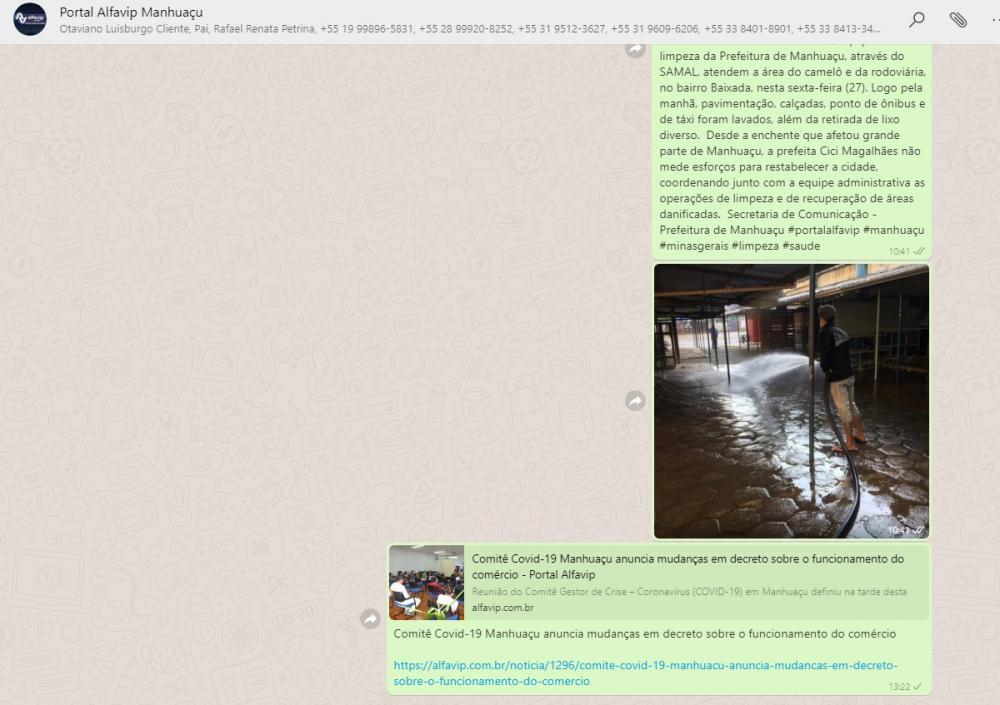 PORTAL ALFAVIP lança grupo de notícias no WhatsApp em Manhuaçu