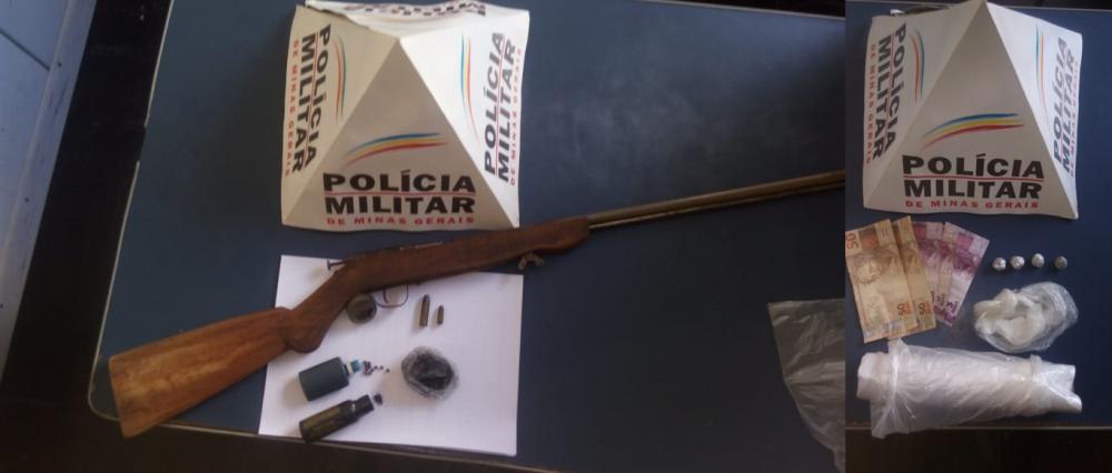 Em Manhuaçu PM apreende drogas e arma de fogo no bairro Santa Terezinha