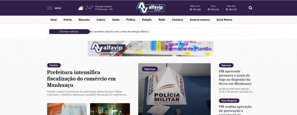 O Portal Alfavip, o site de notícias de Manhuaçu e região, buscando sempre atualização do sistema para levar até a população facilidade, agilidade nas notícias, o site passou por uma mudança em seu layout.
