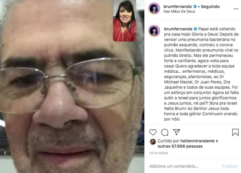 Pai de Fernanda Brum se recupera e tem alta médica