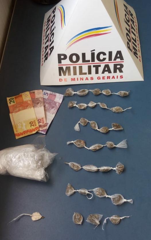 Policia Militar de Manhuaçu apreende drogas no bairro Santana