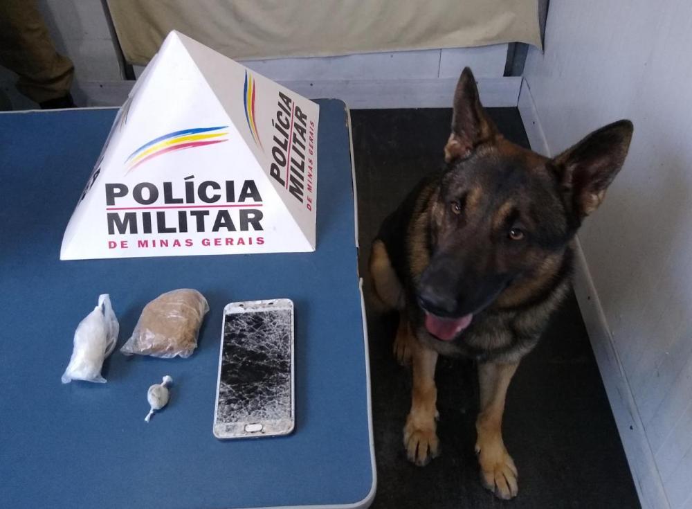 Aquiles entra em ação e PM apreende drogas no bairro Santa Terezinha em Manhuaçu