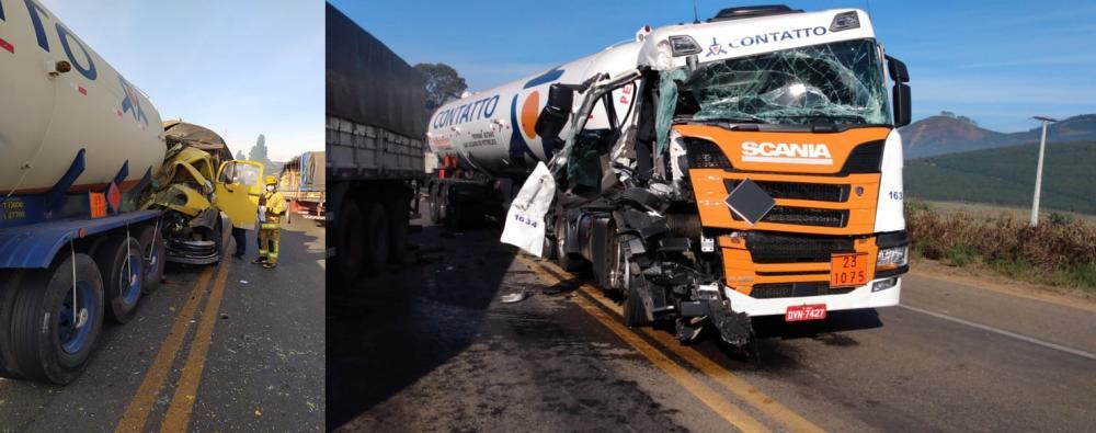 Cerração baixa causa duas colisões traseiras na BR 116, São João do Manhuaçu