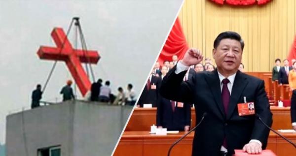 Cruz sendo retirada de igreja na China e o presidente chinês. (Foto: Reprodução / Montagem)