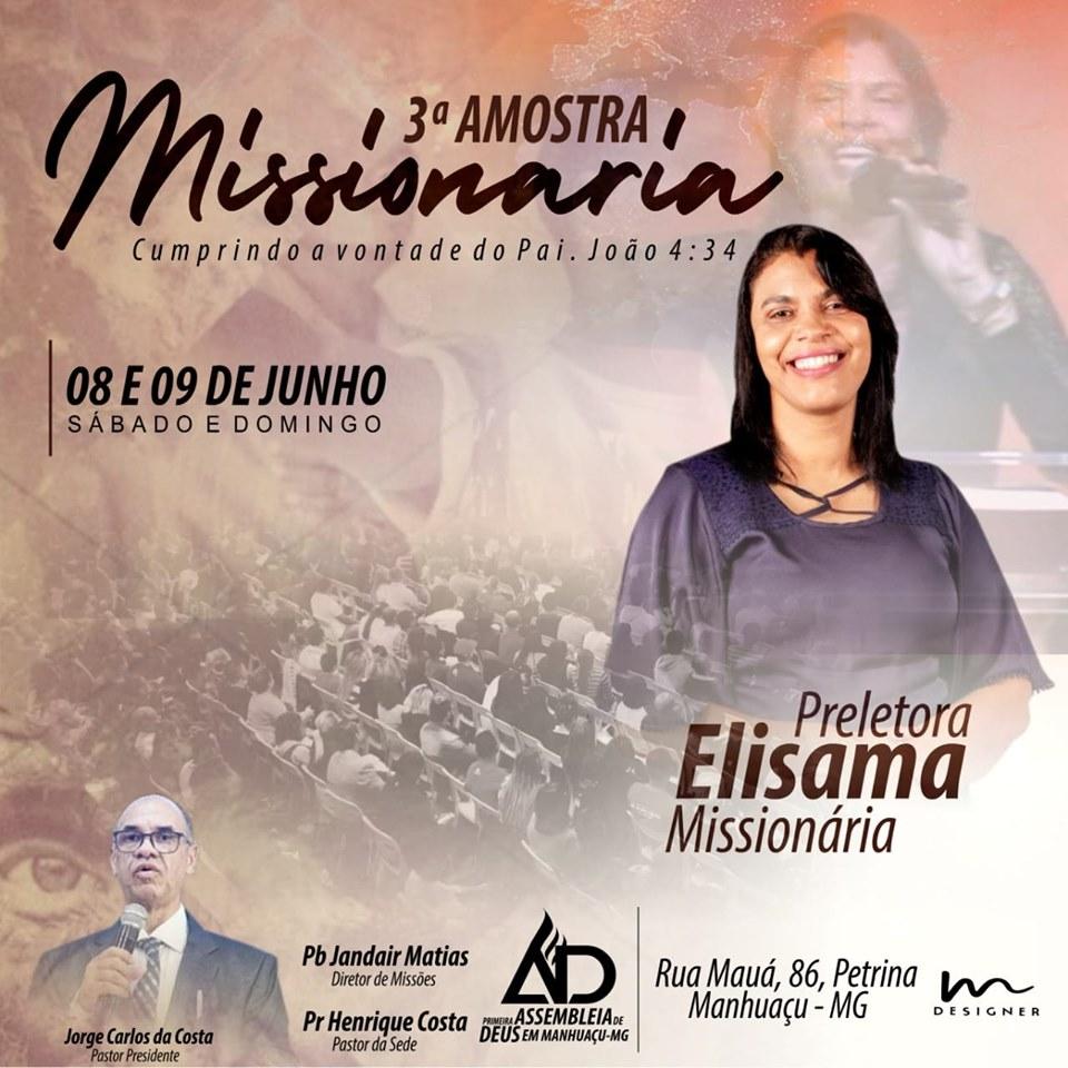 O pastor dirigente Henrique Costa, convida todos de Manhuaçu e região para participar desta festividade de missões.