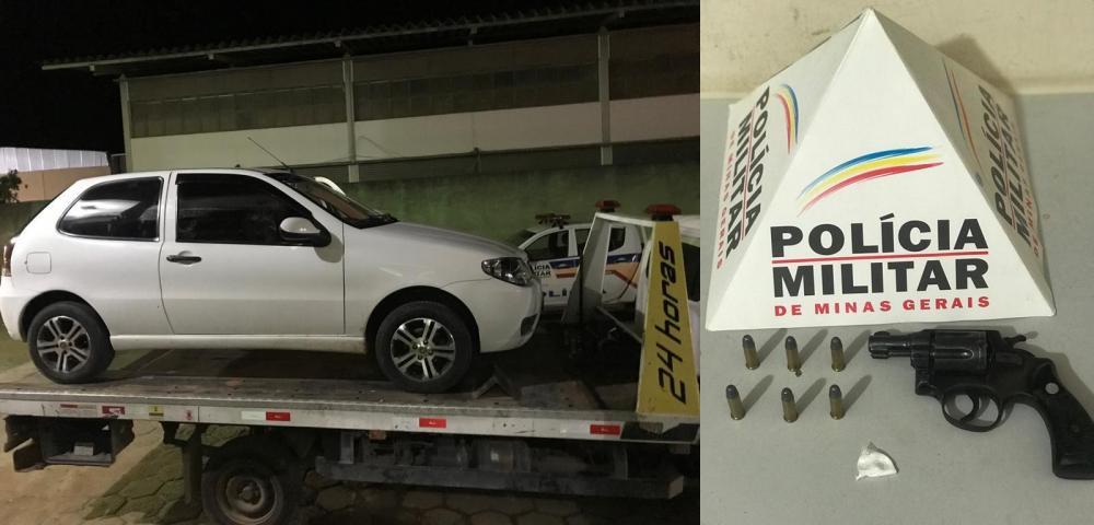 No interior do automóvel foi localizado um papelote de cocaína.