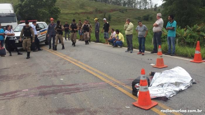 Policial militar morreu no local do acidente em Minas Gerais (Foto/Rádio Muriaé)