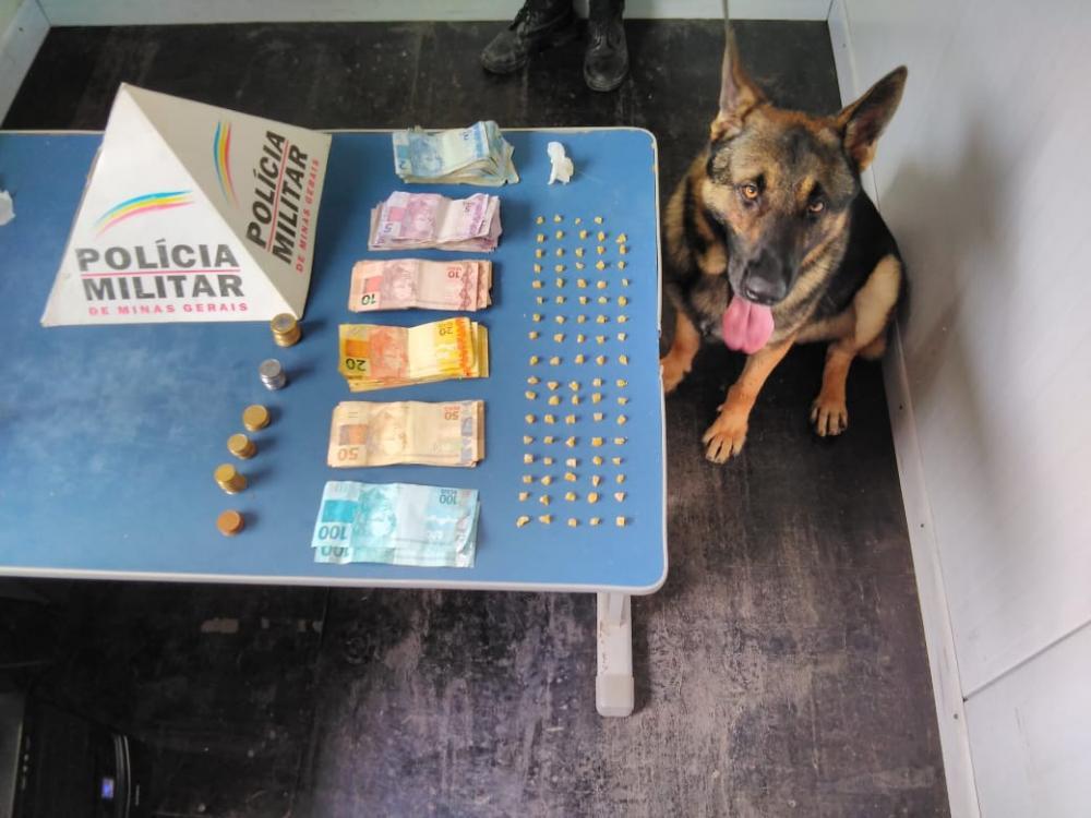 Cão Aquiles encontra 83 pedras de crack no bairro Santa Terezinha em Manhuaçu